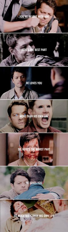 You're in love with him. Here's the best part: He loves you more than his own life. So, here's the worst part: He loves you so much more than his own life. #spn #destiel. Just give me a minute. I need to find my heart pieces