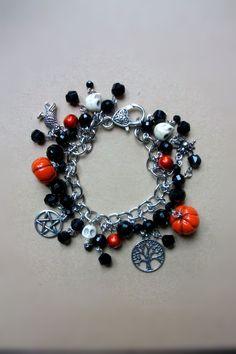 Samhain charm bracelet with raven pentacle spider by GoblinMoonUK