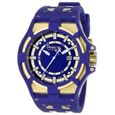 Invicta 0629 Men's Akula Reserve Blue Dial Rubber & Steel Strap GMT Watch