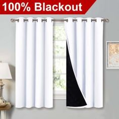 NICETOWN White Blackout Lined Curtains, 2 Thick Layers Full Blackout Window Treatment Thermal Insulated Curtains for Kitchen / Bedroom pair, 52 inches wide x 63 inches length each panel) white bedroom - Modern Blackout Window Treatments, Thermal Window Treatments, Curtains Bedroom, Curtains, Insulated Curtains, White Paneling, White Curtains, White Blackout Curtains, Kitchen Curtains