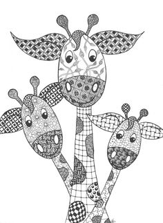 Zentangle girafjes door Nicole Adriaensen-Martens