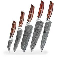 LOOKING FOR STAINLESS STEEL KNIVES? GET THIS SET OF 5 CHEF'S KNIVES IN DIFFERENT SIZES FOR KITCHEN. IT IS VERY WELL SHARPENED FOR YOUR KITCHEN. CHEFS LOVE THE HIGHEST QUALITY PRODUCTS. Chef Knife Set, Knife Sets, Damascus Steel Chef Knife, Cleaver Knife, Japanese Chef, Knife Holder, Utility Knife, Magnetic Knife Strip, Knife Block
