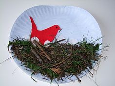 Cute Spring time craft! Go on a nature walk, collect some foliage. Then, create a birds nest with your findings!