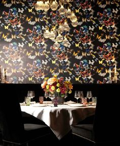 "Who wants a surrounded by Christian Lacroix's ""Butterfly Parade""? If you fall for its let's ride to flag-at Mercado Vienna ! Christian Lacroix Wallpaper, Rooftop Restaurant, Designers Guild, Vienna, Sweet Home, Table Decorations, Elegant, Inspiration, Butterfly"