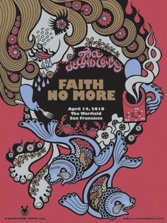 Faith No More concert posters by Junko Mizuno, Frank Kozik, and Tim Biskup on sale here . * See more of my favorite concert posters her. Tour Posters, Band Posters, Retro Posters, Pearl Jam, Frank Kozik, Musik Illustration, Pochette Album, Music Artwork, Music Covers