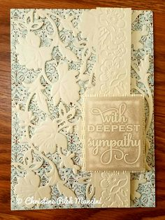 Sympathy card that I made from ivory metallic cardstock and Anna Griffin Calisto cardstock, AG Flower Bramble cut and emboss die, AG Mix and Match sentiment and Vintage Hydrangea embossing folders, AG warm gray inkpads, Cuttlebug Oxford embossing folder #AnnaGriffin #Cuttlebug #SympathyCard #Handmade
