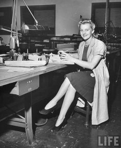 U.S. A young woman working in the Bendix Aviation Co. factory, 1942 // photo by George Strock