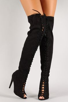 Suede Lace Up Peep Toe Thigh High Boot