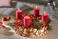 Dried apple slices & apples with juniper sprigs,candle centerpiece.