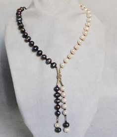 Black White Freshwater Pearl Lariat Necklace, Red Garnet Beads, Sterling Silver Wire Wrapped, Handmade Gemstone Jewelry, June Birthstone by AdornmentsAndFrills on Etsy