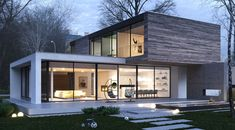The T House is designed to be situated on a picturesque site in a meander of Jeziorka river, in Konstancin, a suburb of Warsaw. A couple of single-family Minimalist Architecture, Modern Architecture House, Architecture Design, Computer Architecture, Architecture Graphics, Modern House Plans, Modern House Design, Contemporary Design, House Doors
