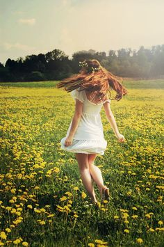 I put on My Heels and A Simple White Dress and A Wreath in My Hair and I took a Breath and I Traveled Quite Far Till I was Quite Worn and I Fell in the Flowers of Yellow at Dawn.
