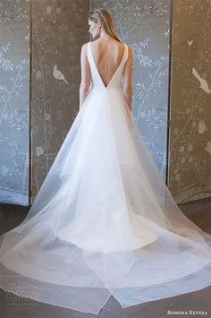 romona keveza spring 2018 bridal sleeveless deep v neck a line trumpet wedding dress bv detachable overskirt modern -- Romona Keveza Collection Spring 2018 Wedding Dresses Stunning Wedding Dresses, Perfect Wedding Dress, Designer Wedding Dresses, Wedding Dress Styles, Colored Wedding Dresses, Lace Mermaid Wedding Dress, Princess Wedding Dresses, Bridal Dresses, Wedding Gowns