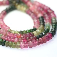 Tourmaline Micro Faceted Rondelles 15 Multi Color Watermelon Pink Green Yellow Brown Semi Precious Gemstone on Etsy, $6.50