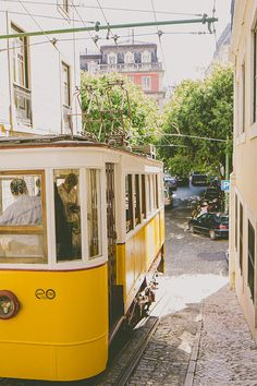 Yellow Cable Car Lisbon Tram Vintage style Travel by hellotwiggs