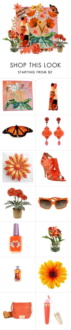 """""""Blooming Orange"""" by amberalew101 ❤ liked on Polyvore featuring Liberty, AFTERSHOCK, Tarina Tarantino, Bionda Castana, Gerber, Christian Dior, Kitson, Ted Baker and Versus"""