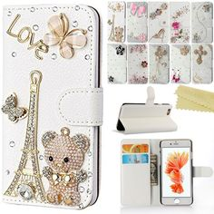 For iPhone 6 Plus, iPhone 6S Plus Case Cover, AMASELL Handmade Bling Crystal Diamond Leather Wallet Kickstand Cases with Magnet Buckle For iPhone 5.5 inch Case, Bear Tower. It's custom handmade by people with a long time of work. Luxury handmade design for fashion, Cute and shining. Premium quality PU leather and rhinestone. Hard PC inner case. Flip Wallet with stand, card/cash holders and magnetic lock. Easy access to all buttons, controls and ports. Protect your phone from scratch, dirt...