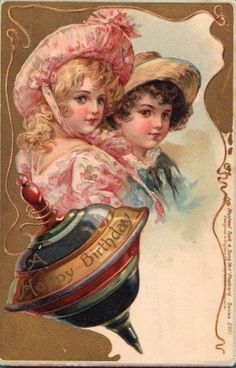 Victorian Kids with Top Birthday Postcard ~ Flor Lilás Vintage