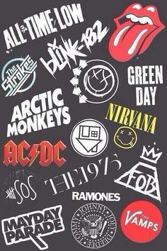 All Time Low. Blink 182. Green Day. Kiss. Artic Monkeys. AC/DC. Fall Out Boy. Mayday Parade. The neighborhood. Nirvana.