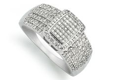 A white gold rectangular pav ring with glittering diamonds. Diamond Glitter, White Gold, Rings, Ring, Jewelry Rings