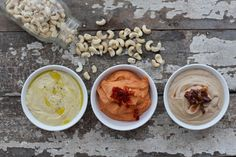 Classic Cashew Cheese, 3 ways sun-dried tomato, olive, and truffle