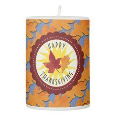 Happy Thanksgiving Fall Oak Leaf Pillar Candle - thanksgiving day family holiday decor design idea