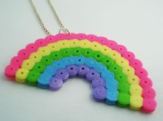 Rainbow Perler Necklace by geekilicious on Etsy, $8.00