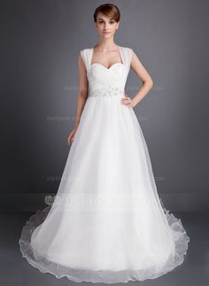 Wedding Dresses - $186.99 - A-Line/Princess Sweetheart Chapel Train Organza Wedding Dress With Ruffle Beadwork (002016006) http://jjshouse.com/A-Line-Princess-Sweetheart-Chapel-Train-Organza-Wedding-Dress-With-Ruffle-Beadwork-002016006-g16006?ver=xdegc7h0