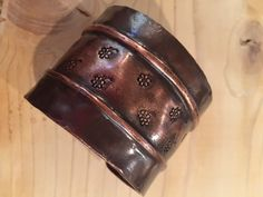 This rustic copper cuff is beautifully form folded and then stamped to give it a fun touch. $50