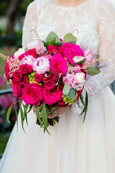 Disneyland wedding bouquet of hot pink rose and peony bouquet with eucalyptus