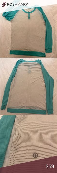 Lululemon striped long sleeve with buttons Like new condition Lululemon long sleeve. Cute turquoise and white color striped. Small opening at the neck for headphones. Size 8. lululemon athletica Tops Tees - Long Sleeve
