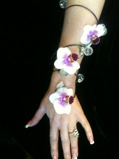 Up the arm orchid corsage- love the beads