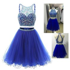 Tulle Homecoming Dress, Blue Beaded Homecoming Dresses,Short Homecoming