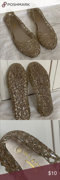 dd7913170793 Gold glitter jelly shoes 8 Glaze Size 8 women s flats jelly shoe gold with  glitter lightly