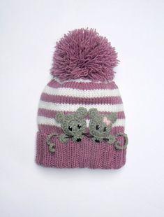Knit Girls Hat with MICE,Pom Pom Hat, Winter Hat, Children Accessories, Kids Fas. Knitted Hats Kids, Baby Hats Knitting, Knitting For Kids, Kids Winter Hats, Kids Hats, Crochet Baby Beanie, Crochet Hats, Animal Hats, Pom Pom Hat