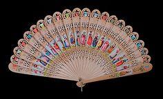 Fourth quarter 19th century, Swiss - Brisé fan - Wood, silk, metal