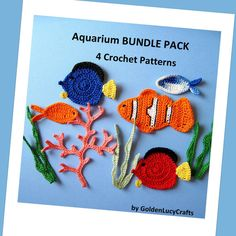 Aquarium Bundle Pack 4 Crochet Appliques PATTERNS