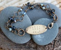 What do you need today? (It is time to water your soul.) :: a hand stamped soul mantra bracelet