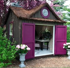 Shed DIY - With a large backyard youll need to store tools to maintain your landscape. Here youll find some garden shed ideas to help keep things organized. Now You Can Build ANY Shed In A Weekend Even If You've Zero Woodworking Experience! Man Cave And She Shed, Outdoor Spaces, Outdoor Living, Outdoor Office, Outdoor Sheds, Backyard Office, She Sheds, Woman Cave, Lady Cave