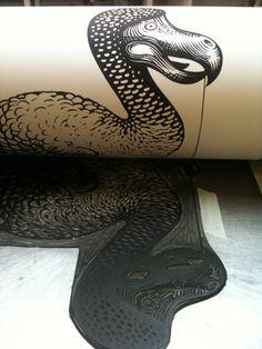 Dodo linocut - pulling a print by linocutboy, via Flickr