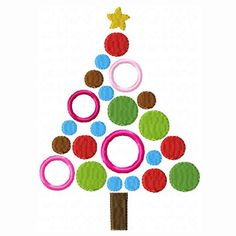 Embroidery Machine Applique Design - Whimsy Polka Dot Christmas Tree - 3 Sizes - Christmas Applique Design Embroidery. $2.99, via Etsy.