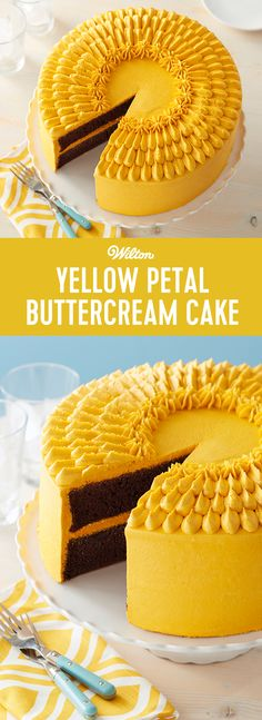 Every party is better with cake, and this Build Me Up Buttercup Cake is sure to be crowd-pleaser! Large enough to feed about 40 people, this cake is great for big birthday parties, wedding showers or even a work anniversary. #wiltoncakes #birthday #cake #cakedesign #buttercream