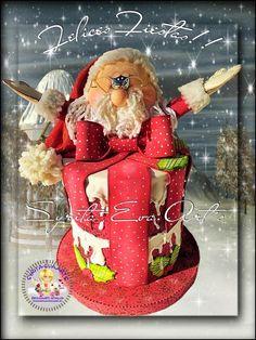 fofuchas-syritaeva-arts: Cubre Panetón Navideño Christmas Jars, Happy Mothers, Nativity, Gingerbread, Decoupage, Santa, Clay, Disney Princess, Holiday Decor