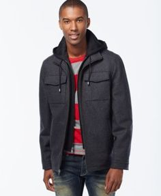 INC International Concepts Hooded Wool-Blend Jacket, Only at Macy's   macys.com
