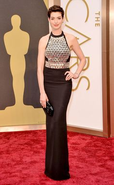 Anne Hathaway from 2014 Oscars Red Carpet Arrivals   E! Online