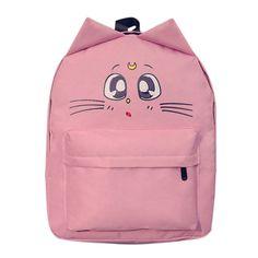 eeb34dd25849 New Korean College Style Cute Cat Ear Sailor Moon Backpack Women Canvas  Double Shoulder School Bags Casual Women Travel Rucksack - Crystal Ki