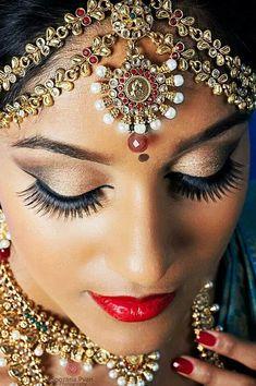 South Indian Bridal MakeUp For Beautiful Lashes Bollywood, Indian Bridal Makeup, Asian Bridal,