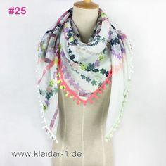 Damen Schal 110x100cm in Weiss mit Blumenmuster