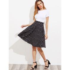 Hidden Pocket Detail Polka Dot Circle Skirt ($3) ❤ liked on Polyvore featuring skirts