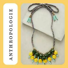 """NWT Anthropologie Agate Bib Necklace I purchased this as a Thanksgiving gift and recently found it. The necklace is brand new and has never been worn. It's a substantial piece and the colors of the agate are so beautiful, very fitting for spring.  Brass, agate, cotton string Tie closure  Dimensions  50""""L 1.25"""" bib Anthropologie Jewelry Necklaces"""